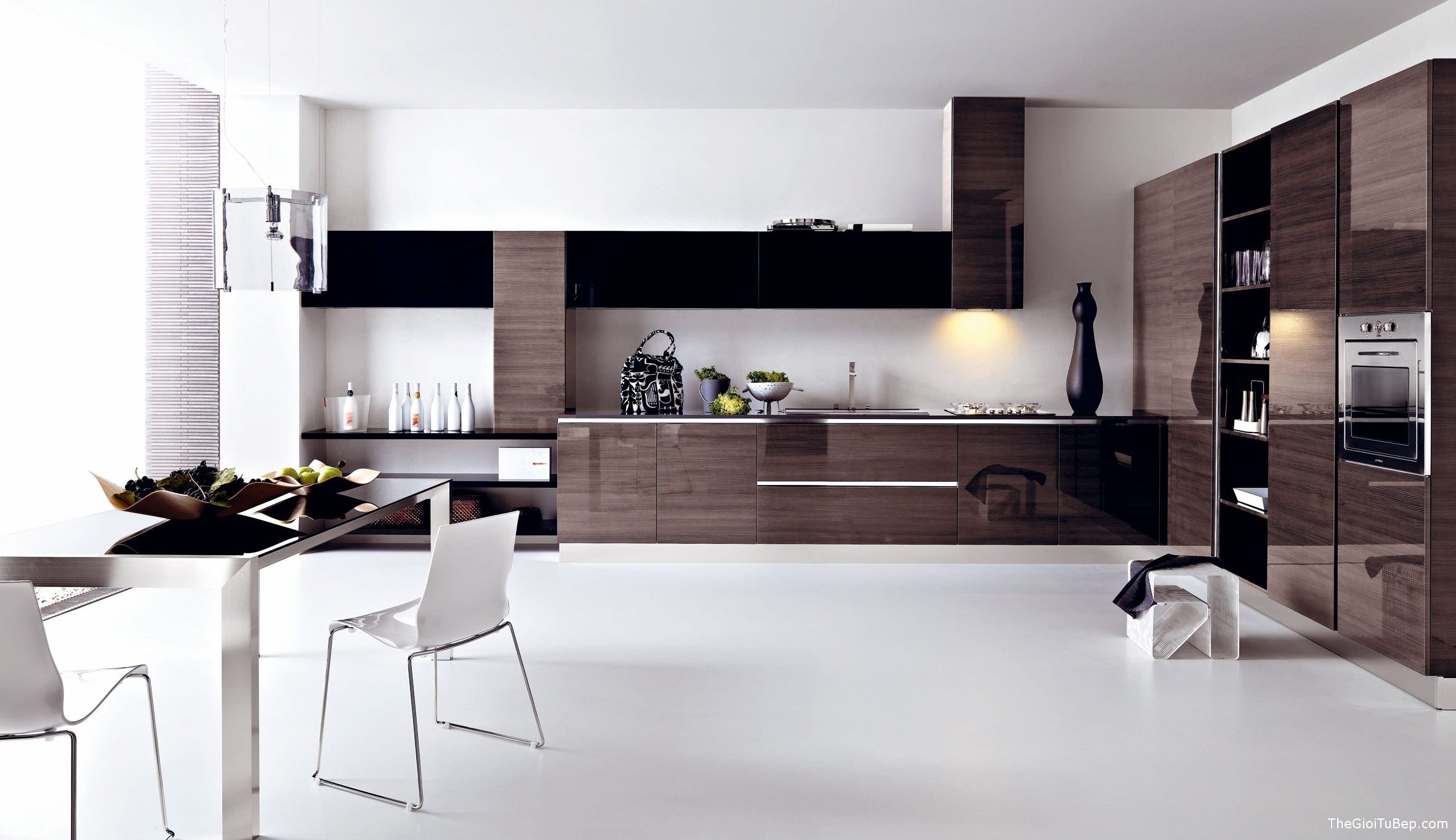 modern-kitchen-ideas-with-gloosy-black-kitchen-cabinet-and-glass-on-top-table-and-white-chair-dining-set-kitchen-photo-modern-kitchen-ideas