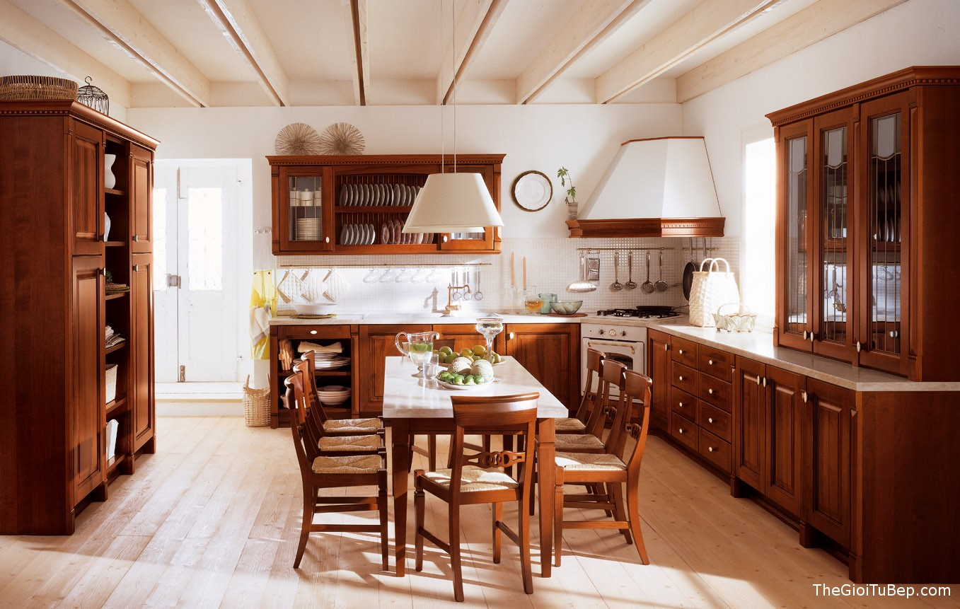Awesome-Traditional-Kitchen-Design-with-Wooden-Cabinets-Combined-with-Dining-Room-Also-Furnished-with-White-Table-and-Wooden-Chairs-of-Dining-Furniture-Sets-Ideas